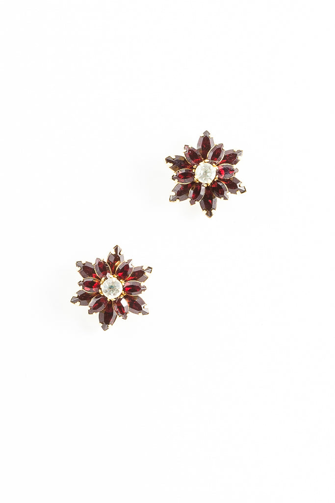 70's__Vintage__Ruby Rhinestone Flower Earrings
