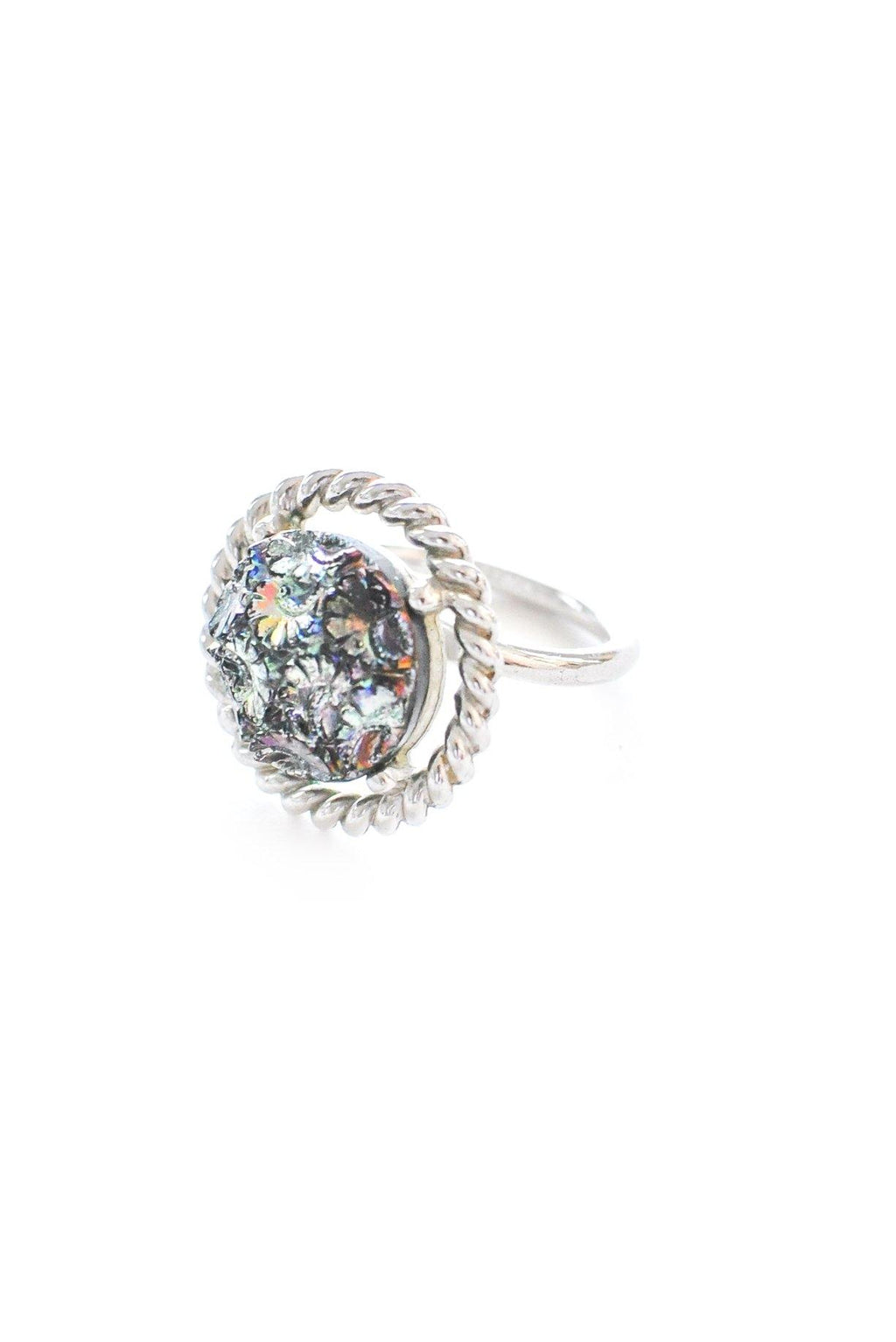 Adjustable Floral Rhinestone Cocktail Ring