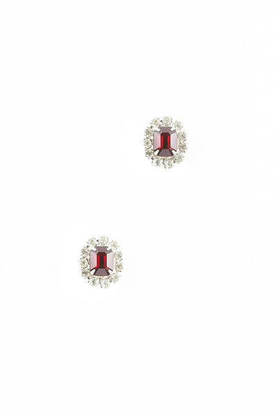 70's__Vintage__Ruby and Clear Rhinestone Earrings