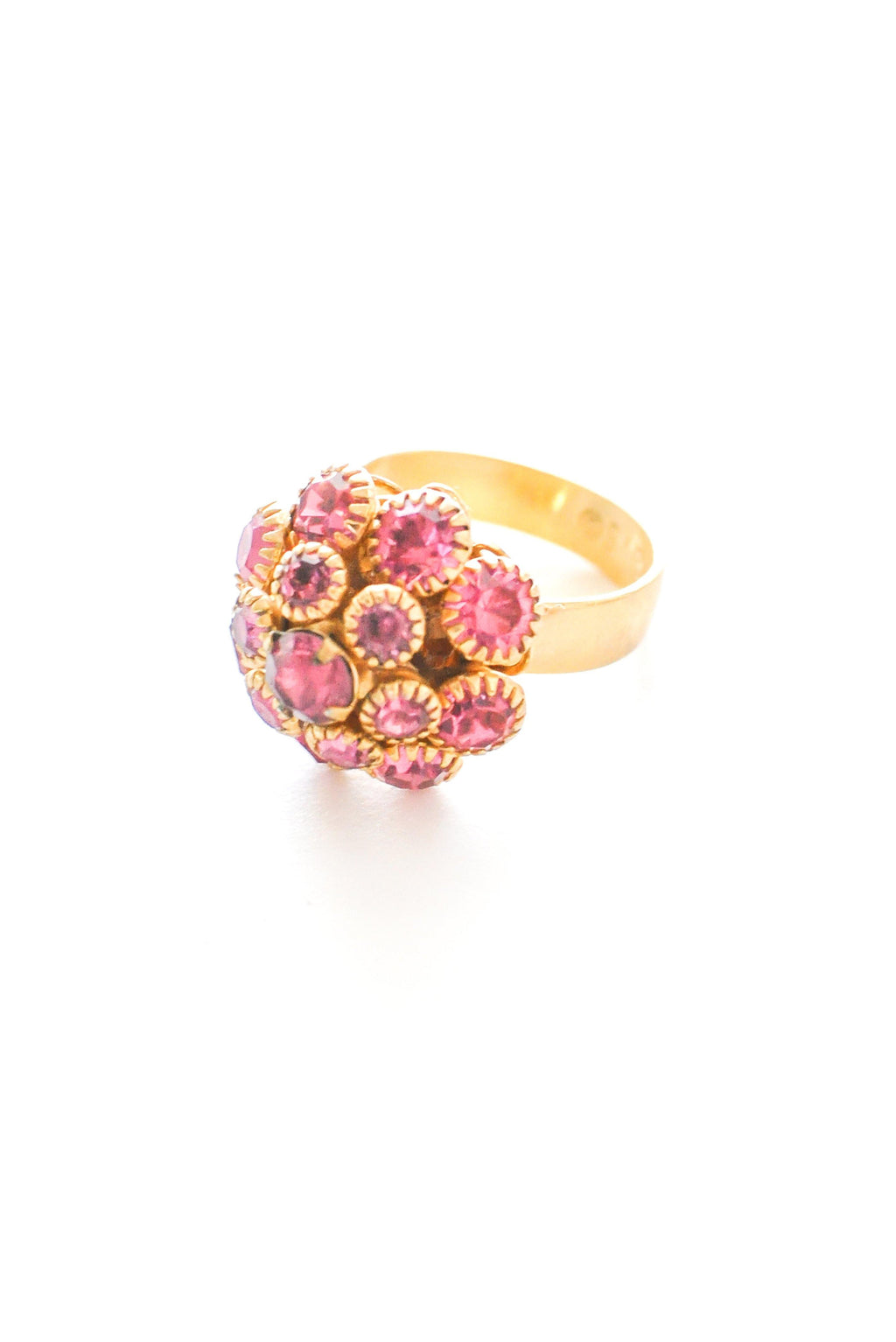 Adjustable Pink Rhinestone Cocktail Ring