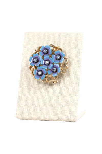 70's__Avon__Blue Flower Brooch