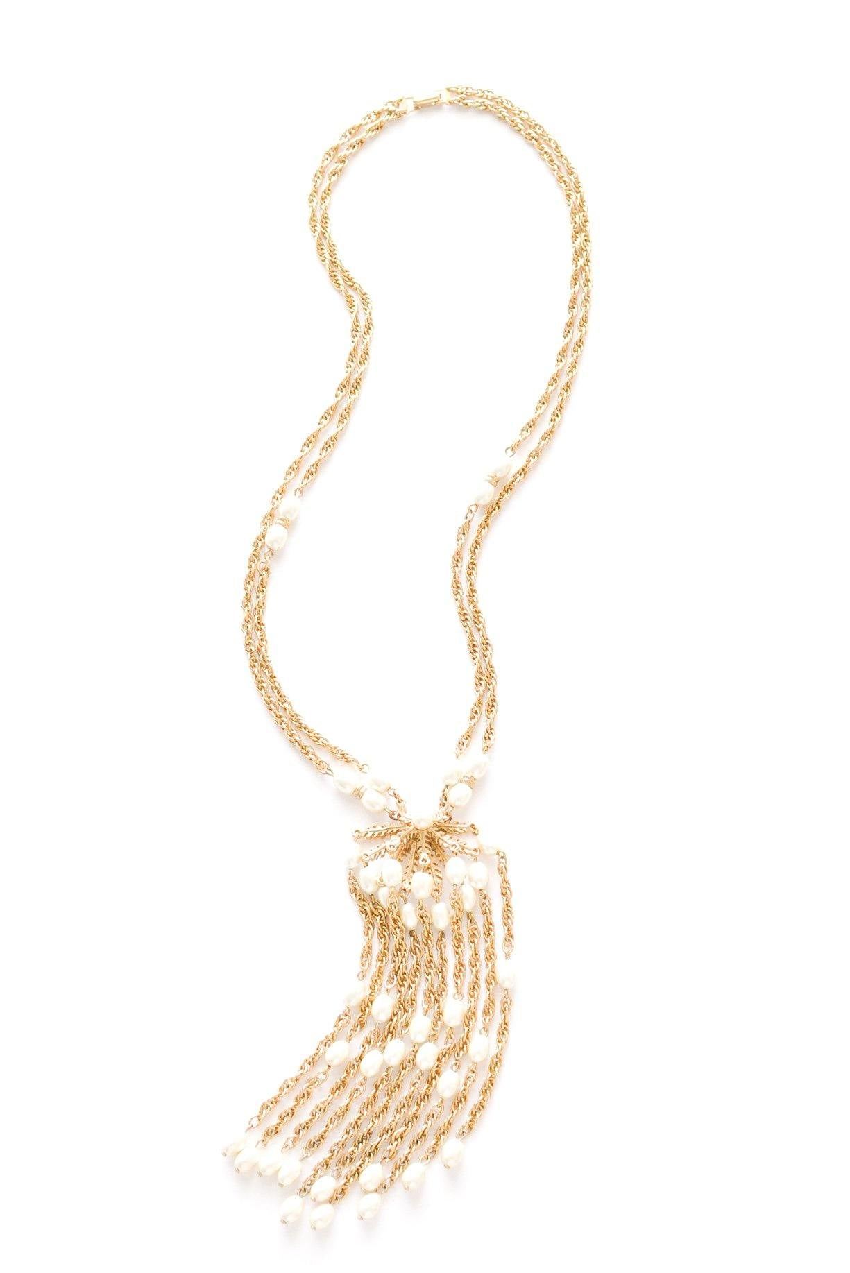 Pearl Statement Tassel Necklace