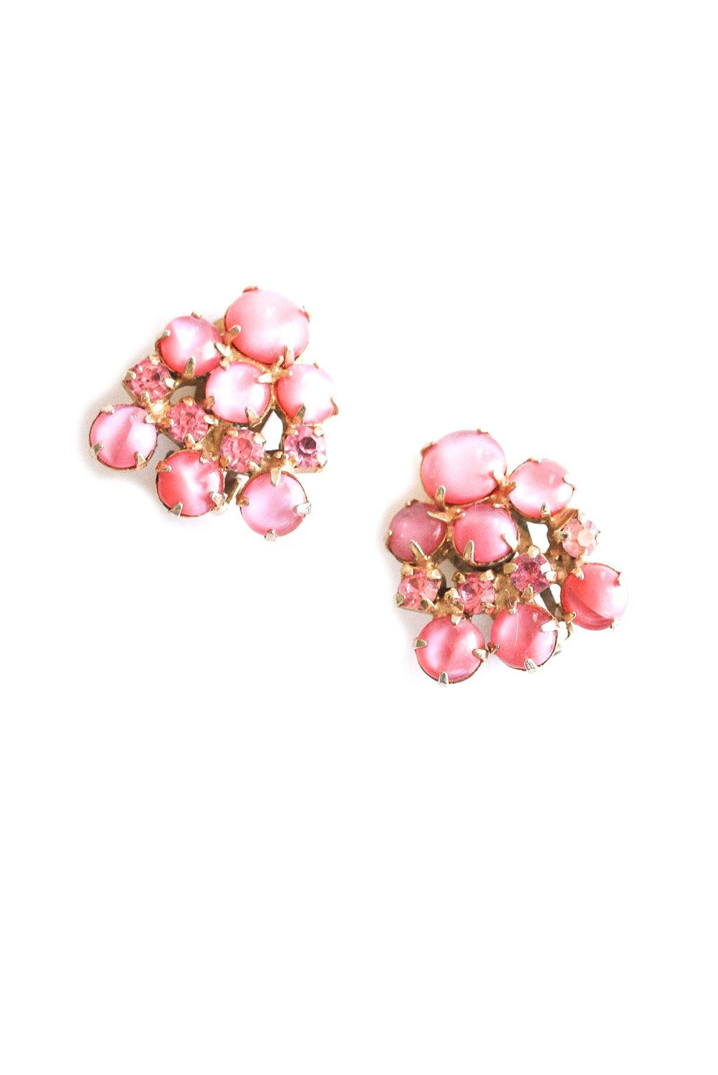 Pink Rhinestone Cluster Clip-on Earrings