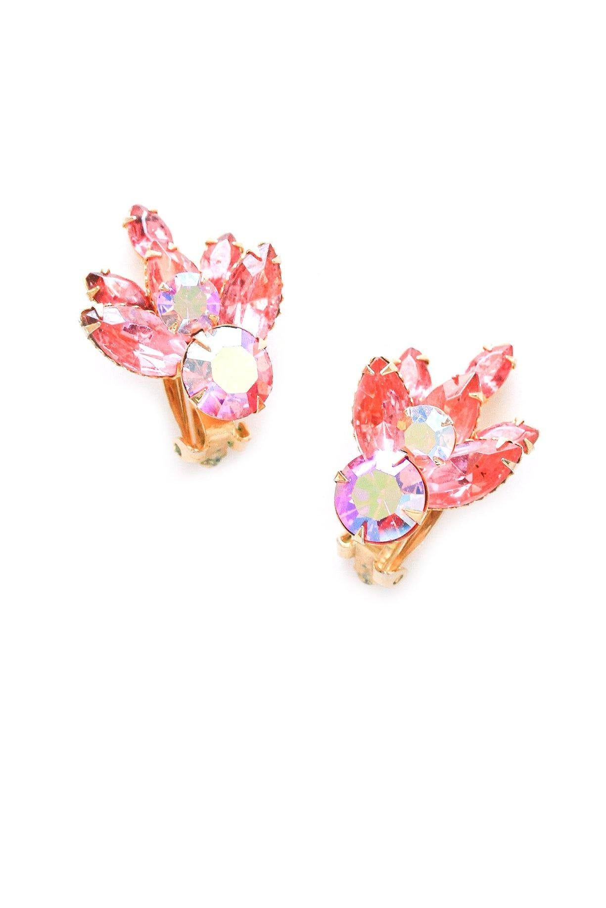 Chunky Pink Rhinestone Crawler Clip-on Earrings
