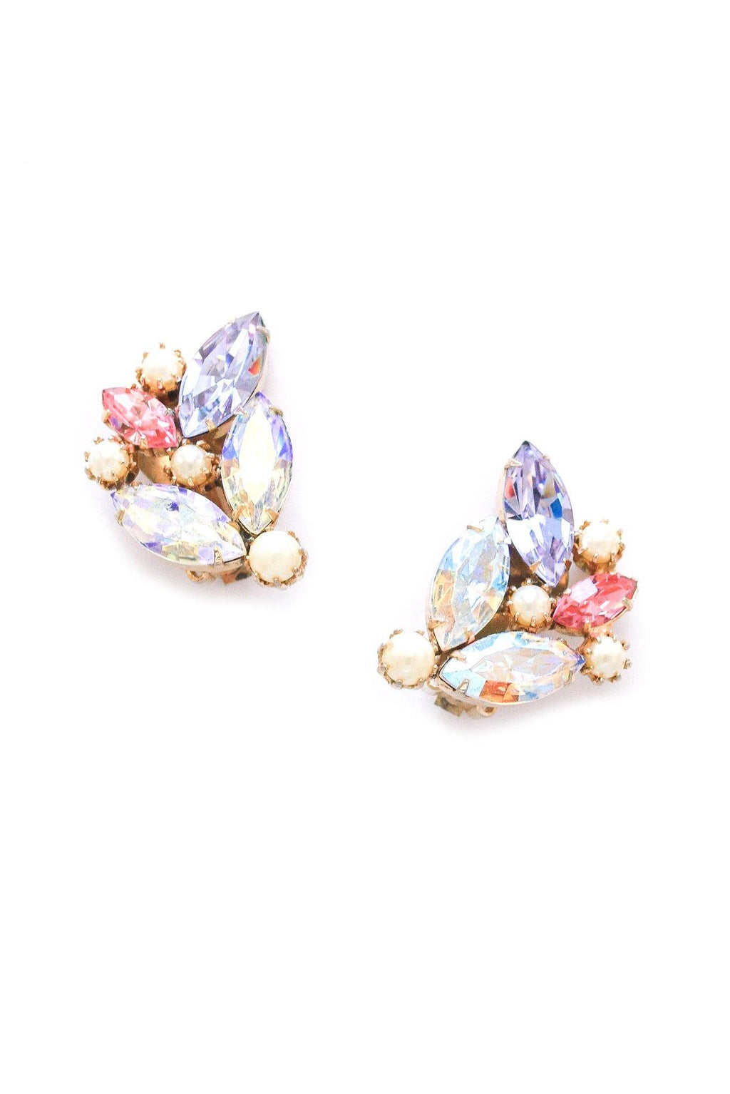 Pearl and Rhinestone Crawler Clip-on Earrings