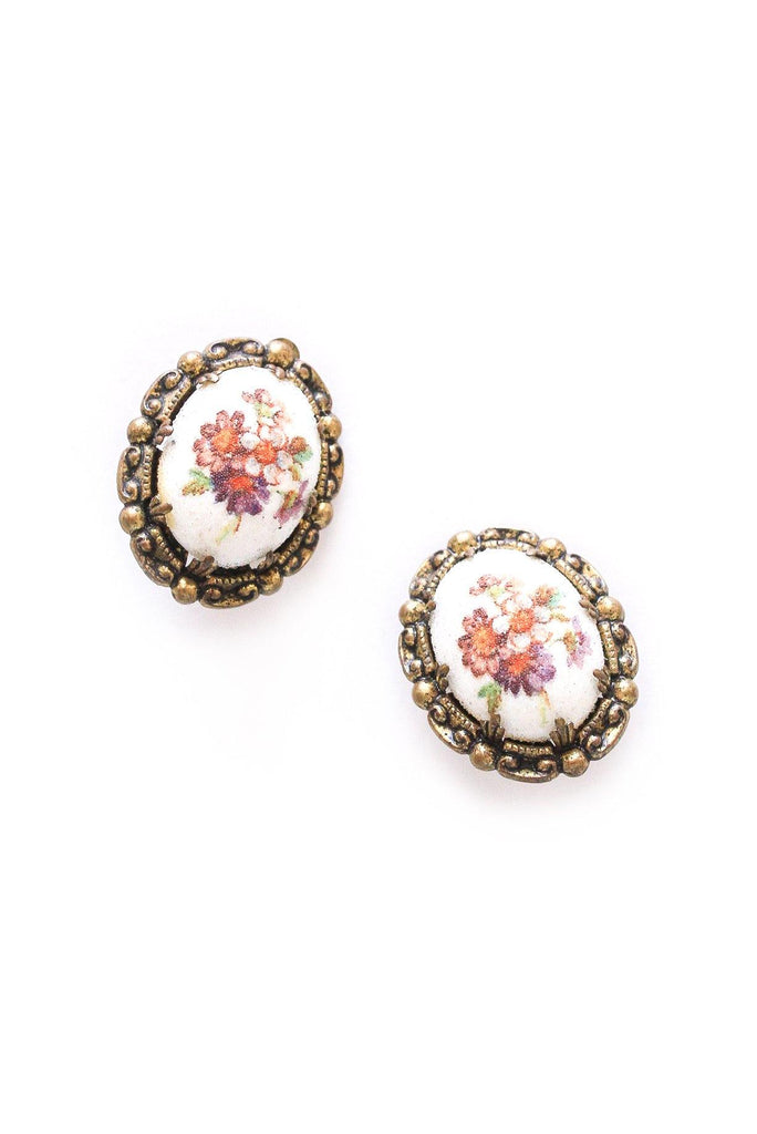 Antique Floral Clip-on Earrings
