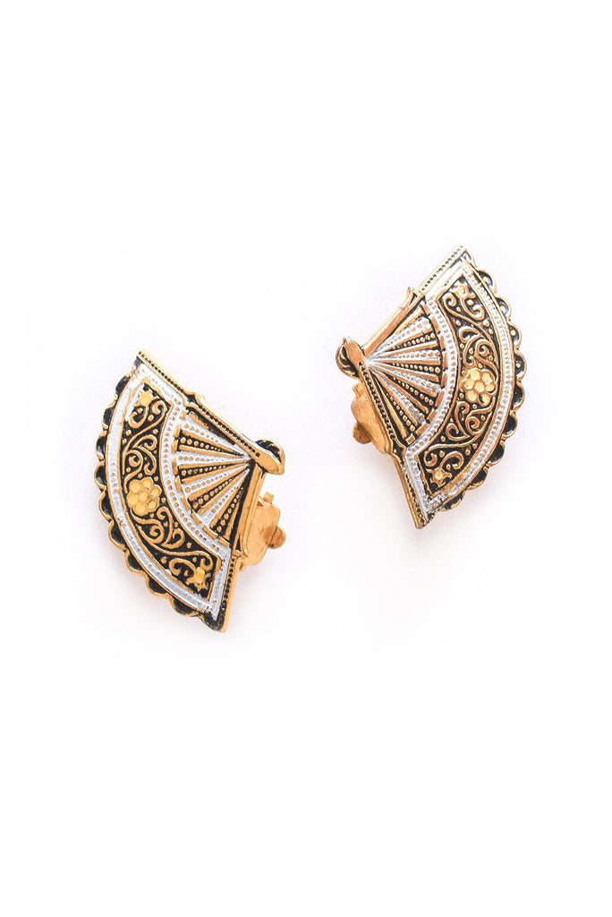 Damascene Fan Clip-on Earrings