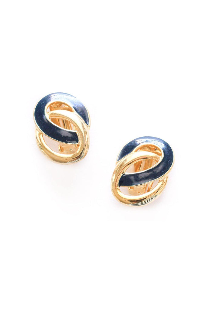 Navy Link Clip-on Earrings