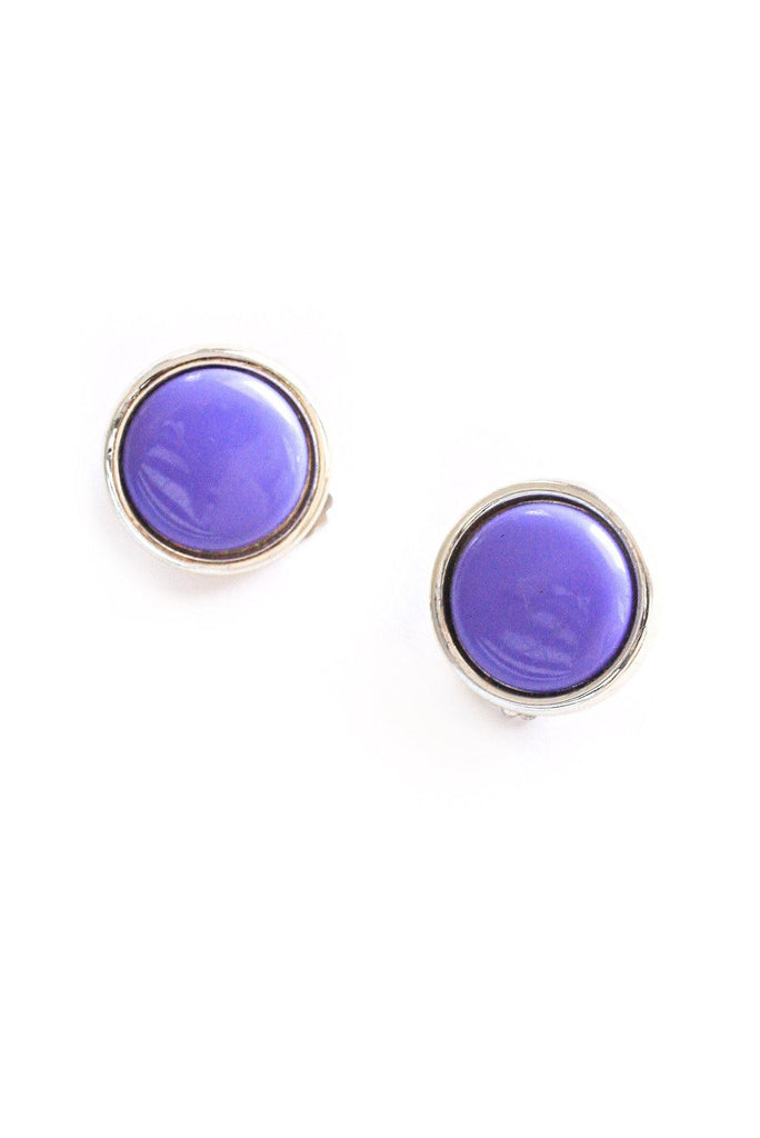 Purple Button Clip-on Earrings