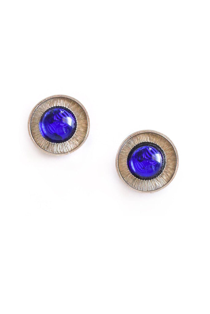 Navy Button Clip-on Earrings