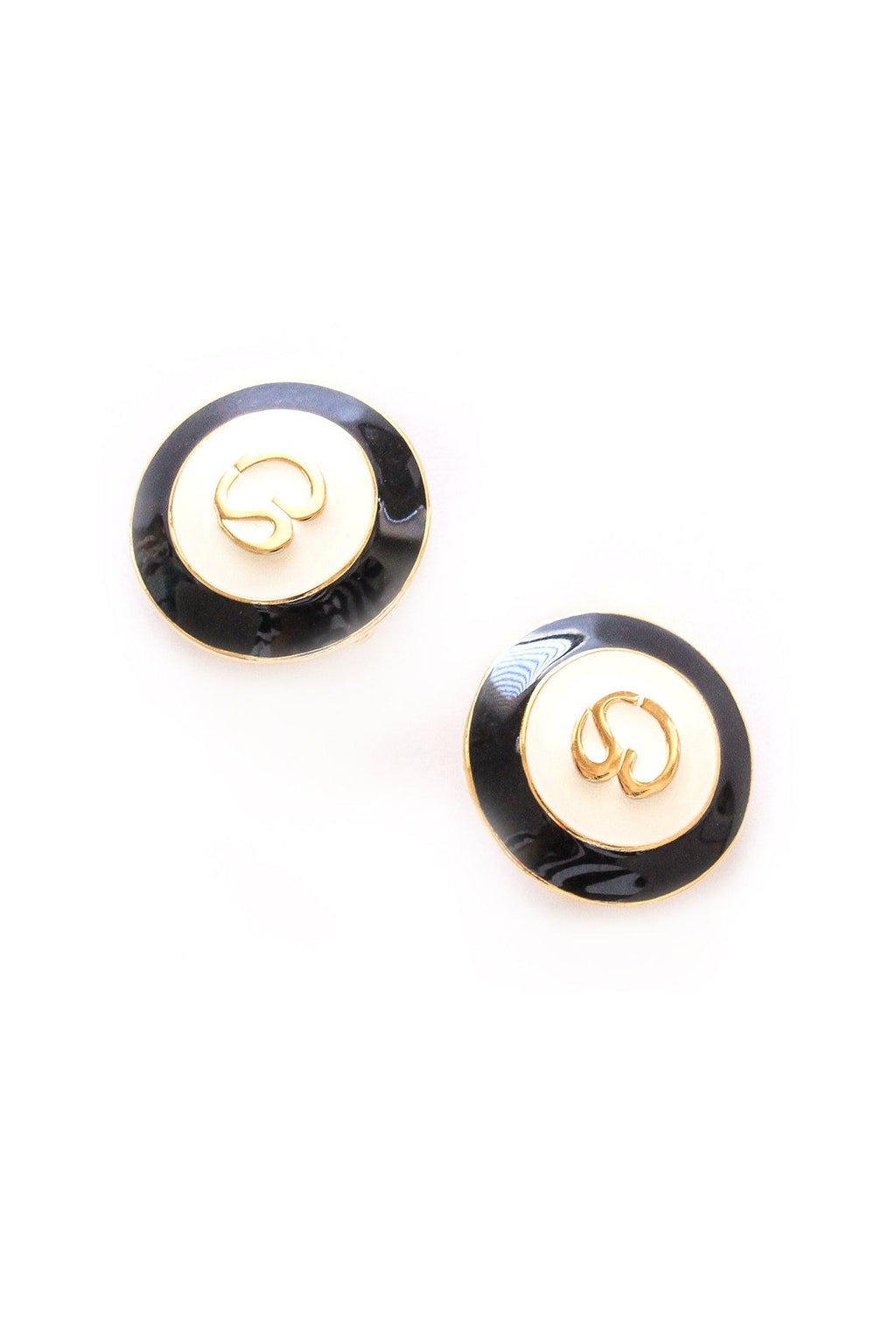 Enamel Button Clip-on Earrings