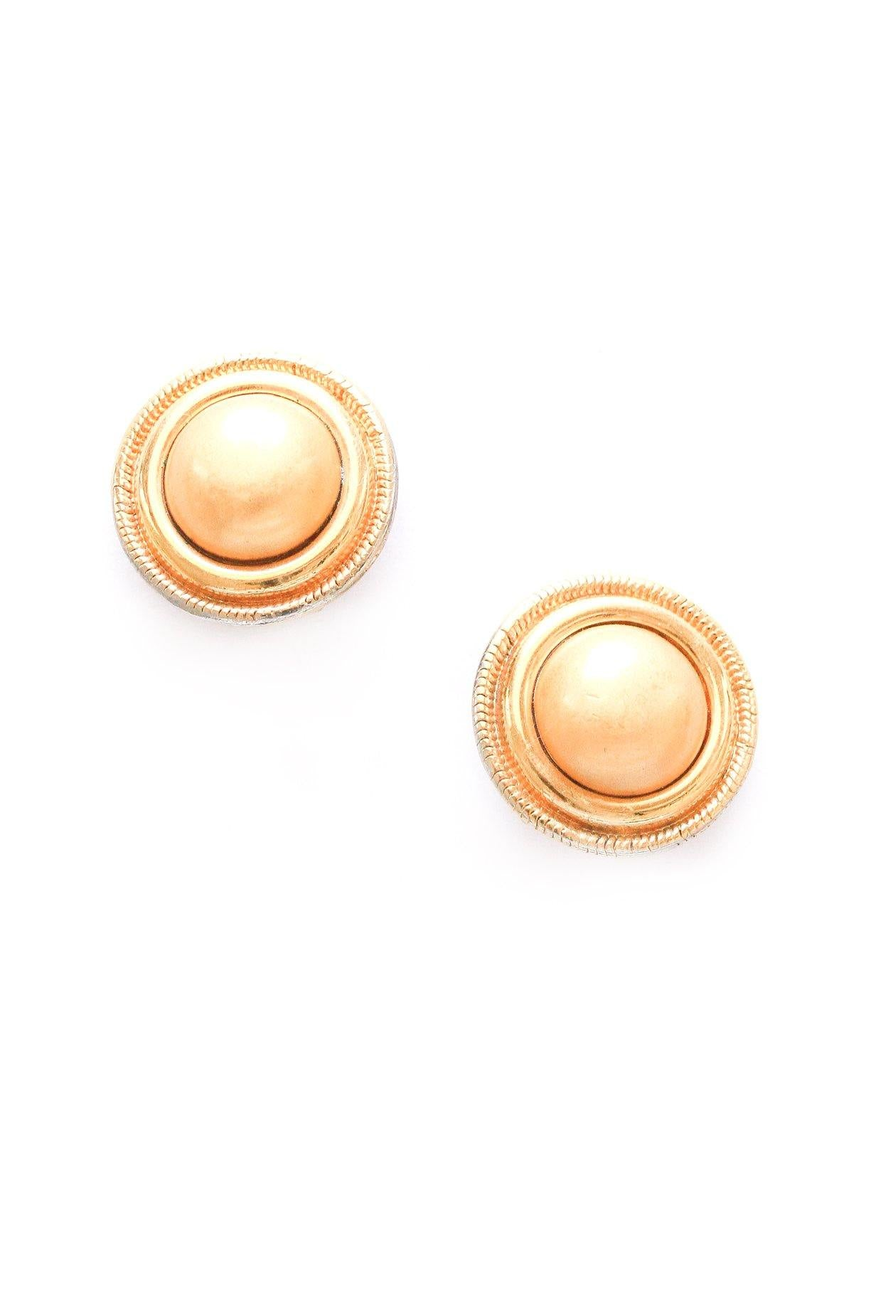 Gold Button Clip-on Earrings