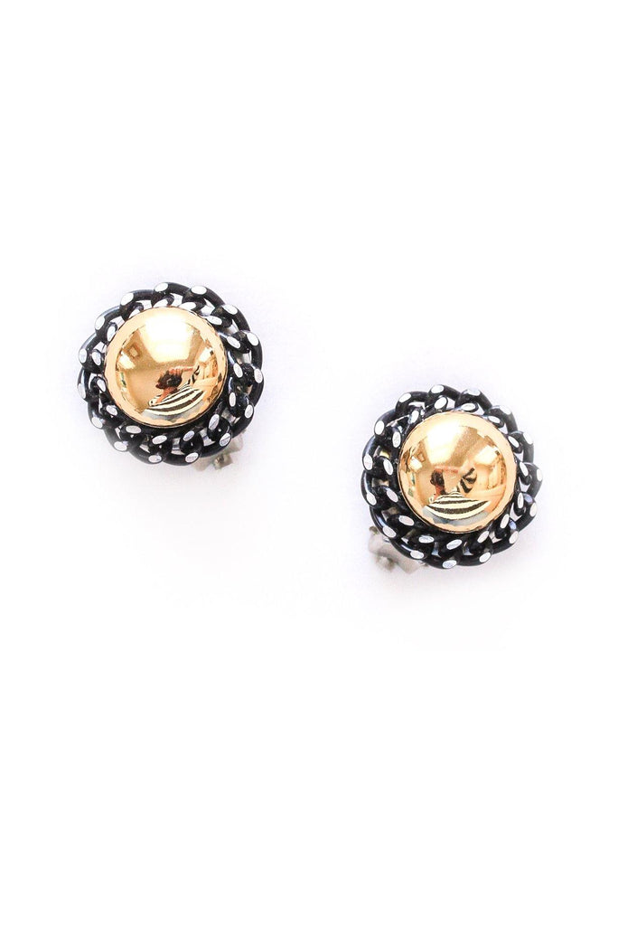 Chain Wrapped Button Clip-on Earrings