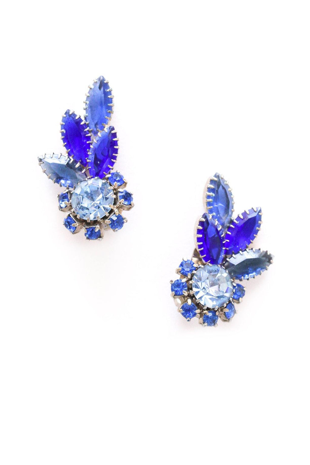 Statement Blue Rhinestone Crawler Clip-on Earrings