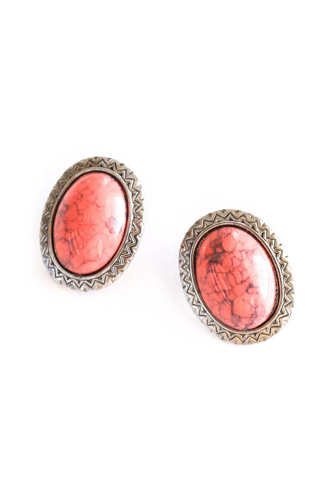 Faux Coral Pierced Earrings