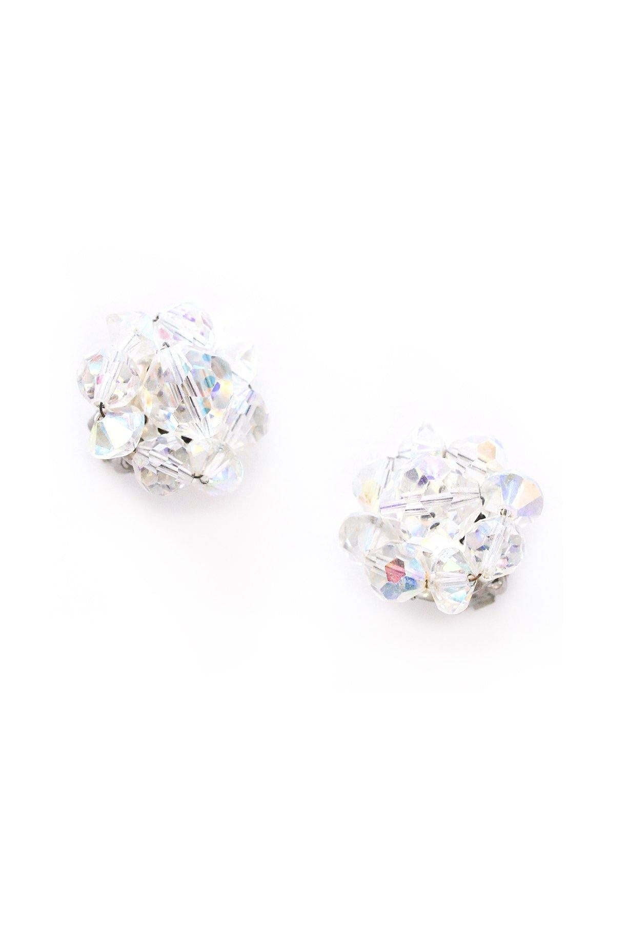 Iridescent Crystal Clip-on Earrings