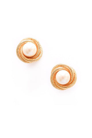 Classic Rope Wrapped Pearl Pierced Earrings