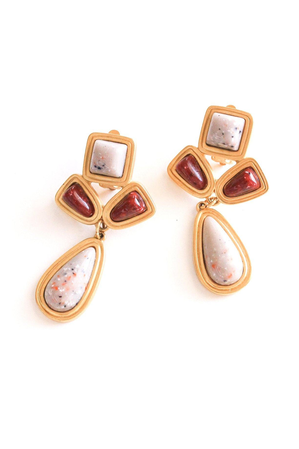 Marble Stone Statement Clip-on Earrings