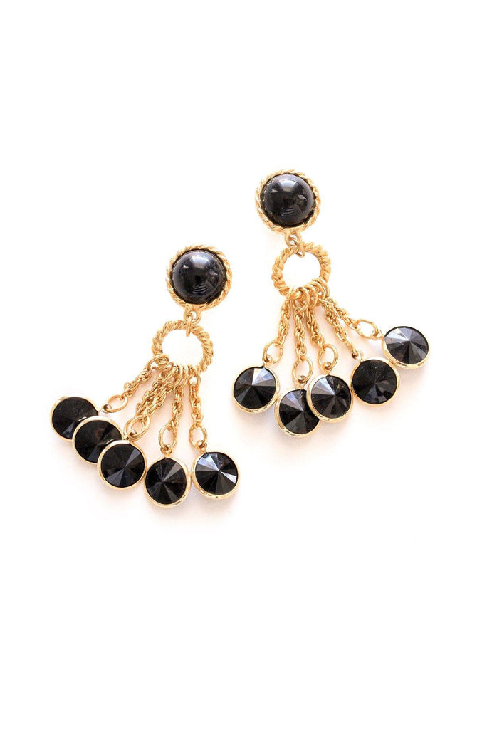 Black Gem Tassel Pierced Earrings