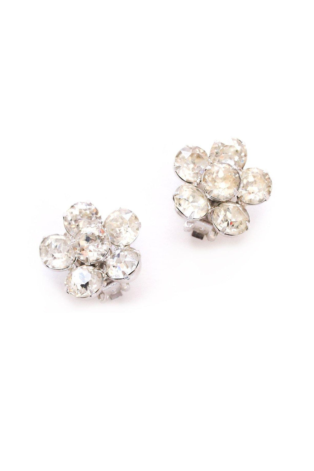 Rhinestone Floral Clip-on Earrings