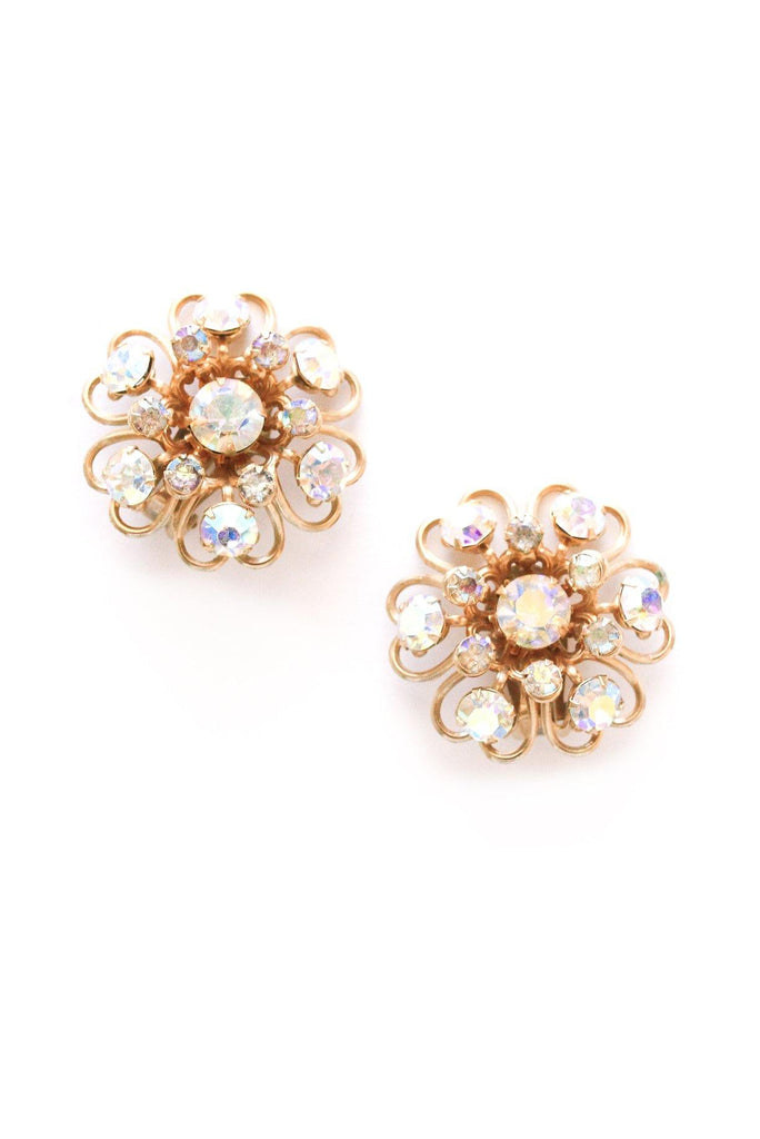 AB Rhinestone Statement Clip-on Earrings