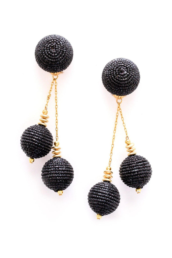 Black Bauble Clip-on Earrings