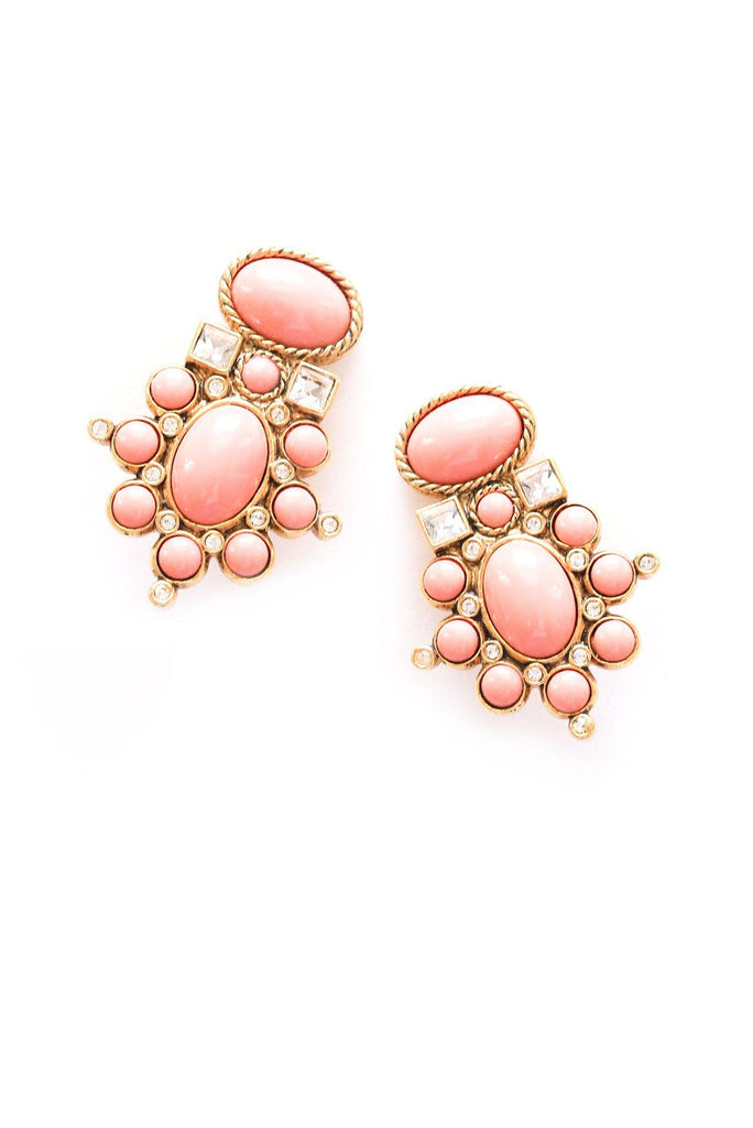 Coral Statement Clip-on Earrings