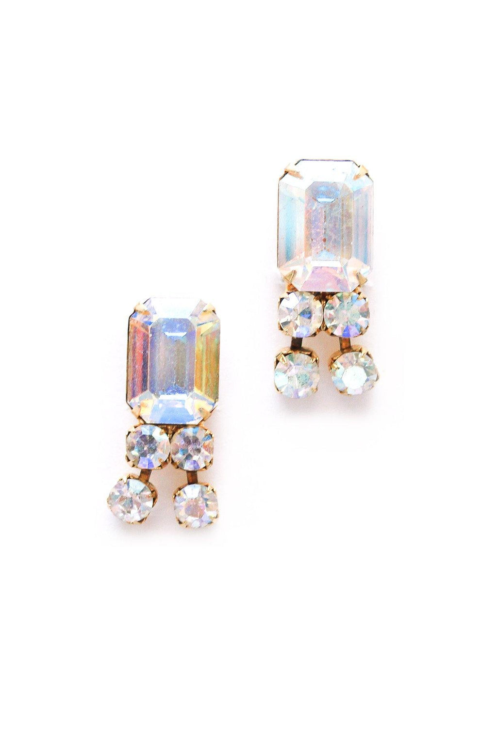 AB Rhinestone Drop Clip-on Earrings