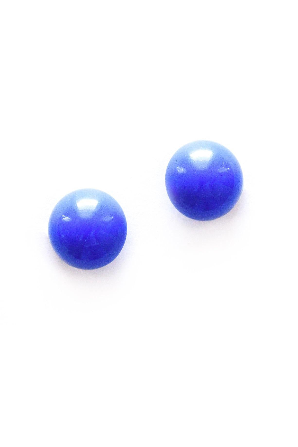 Blue Button Clip-on Earrings