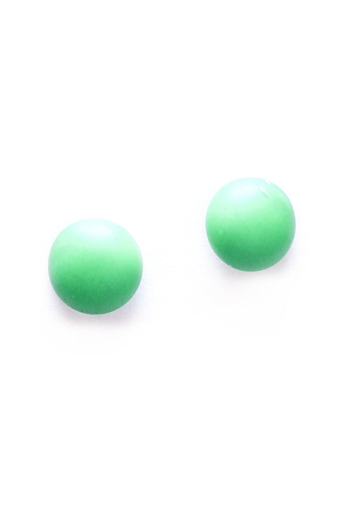 Green Button Clip-on Earrings