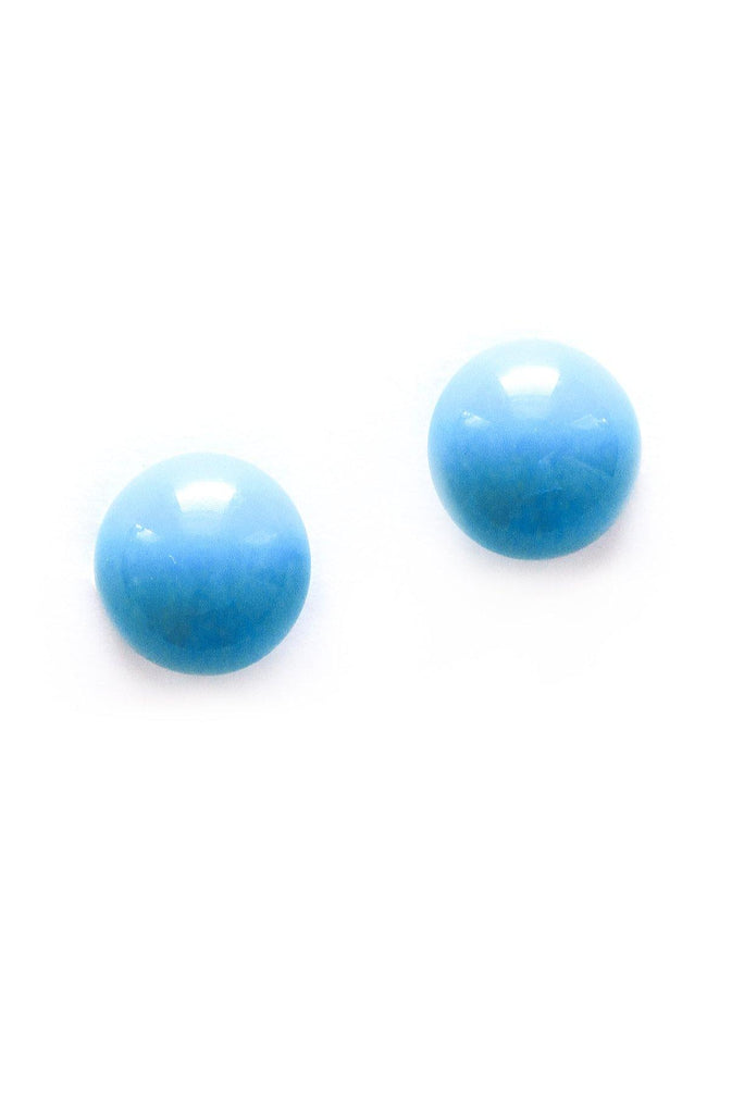 Teal Button Clip-on Earrings