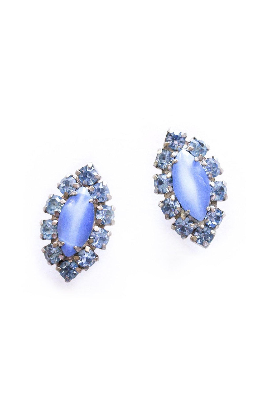 Blue Rhinestone Oval Clip-on Earrings