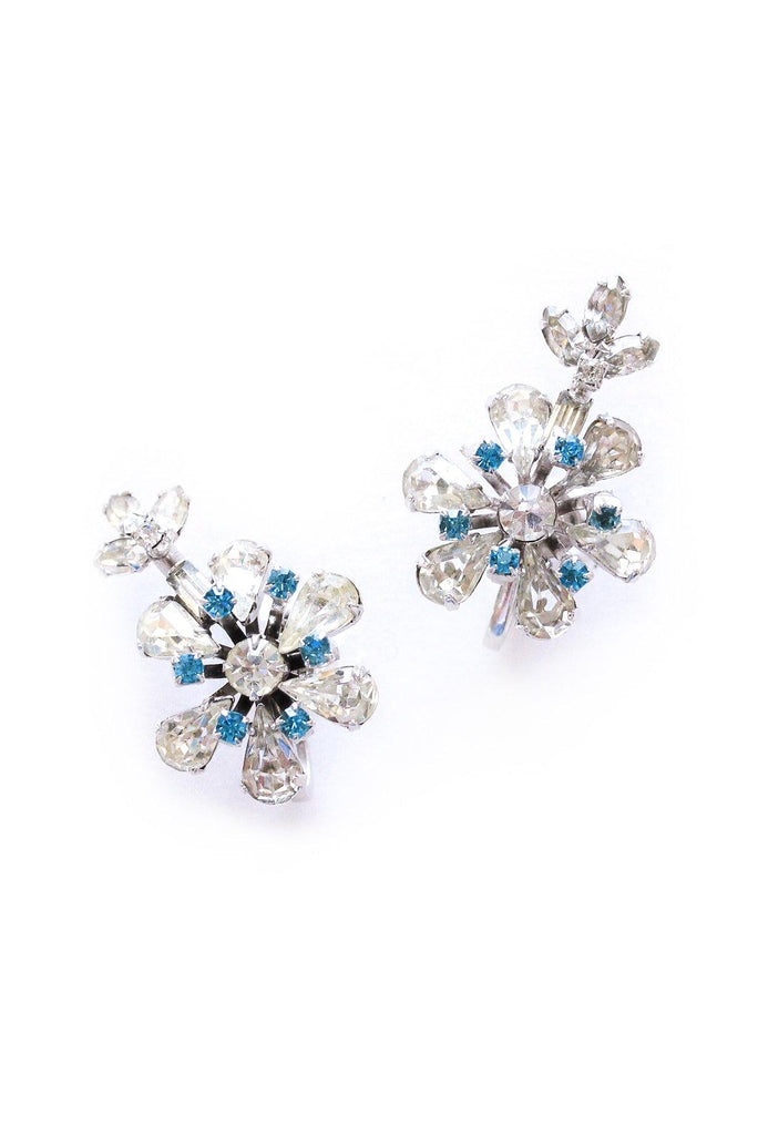 Floral Burst Rhinestone Clip-on Earrings
