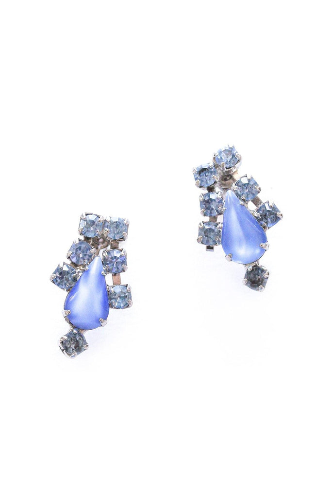 Blue Rhinestone Teardrop Clip-on Earrings