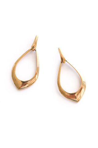 Simple Drop Hoop Pierced Earrings