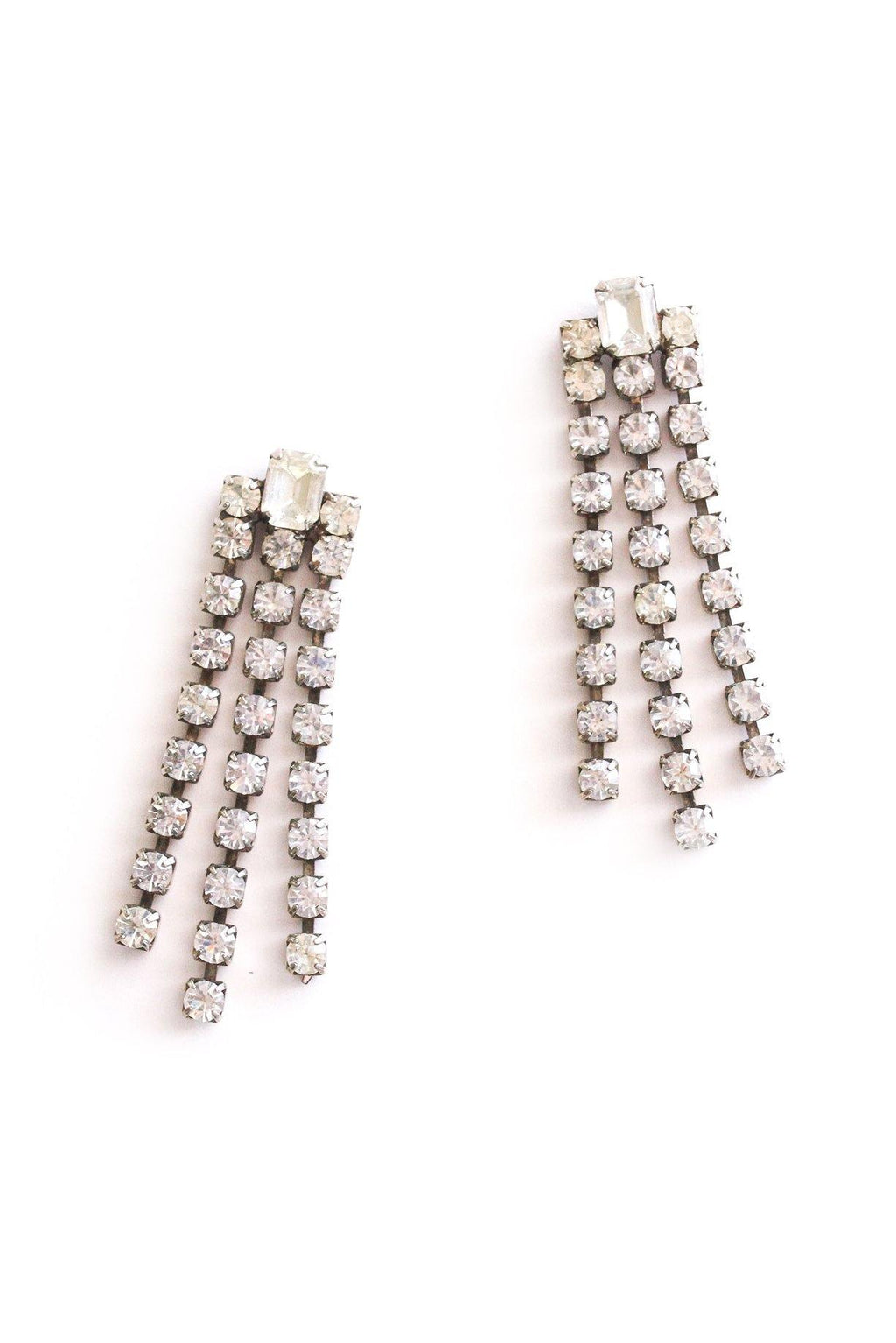 Rhinestone Fringe Pierced Earrings