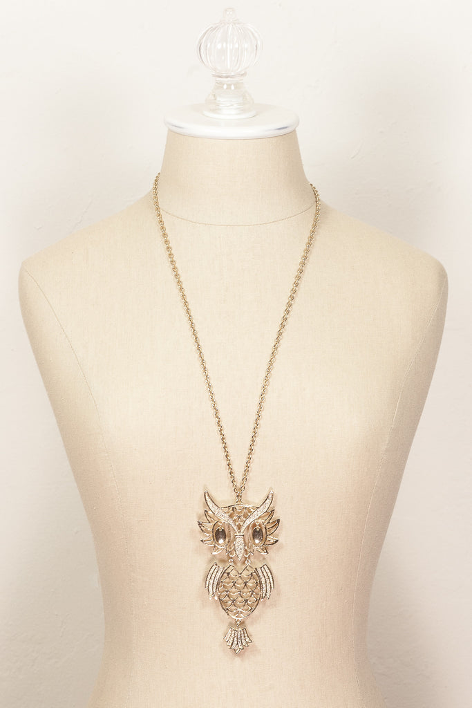 70's__Avon__Owl Pendant Necklace