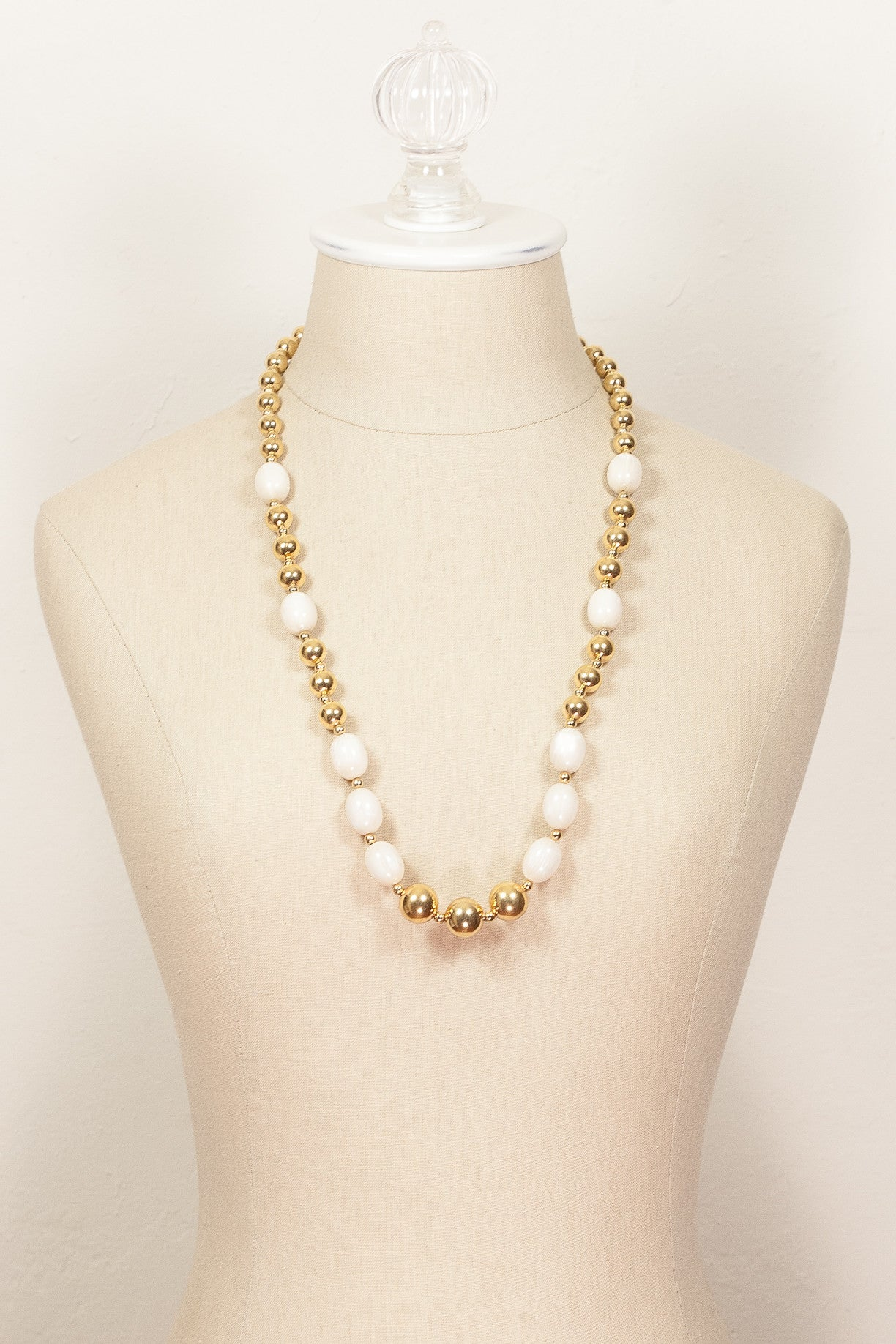70's__Napier__White Bead and Gold Necklace