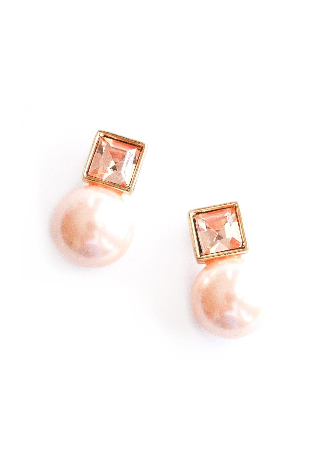 Pink pearl earrings from Sweet & Spark.