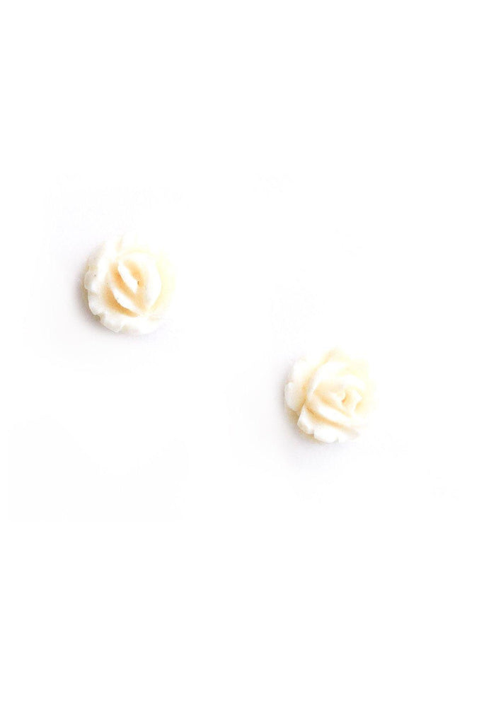 Cream Rose Pierced Earrings