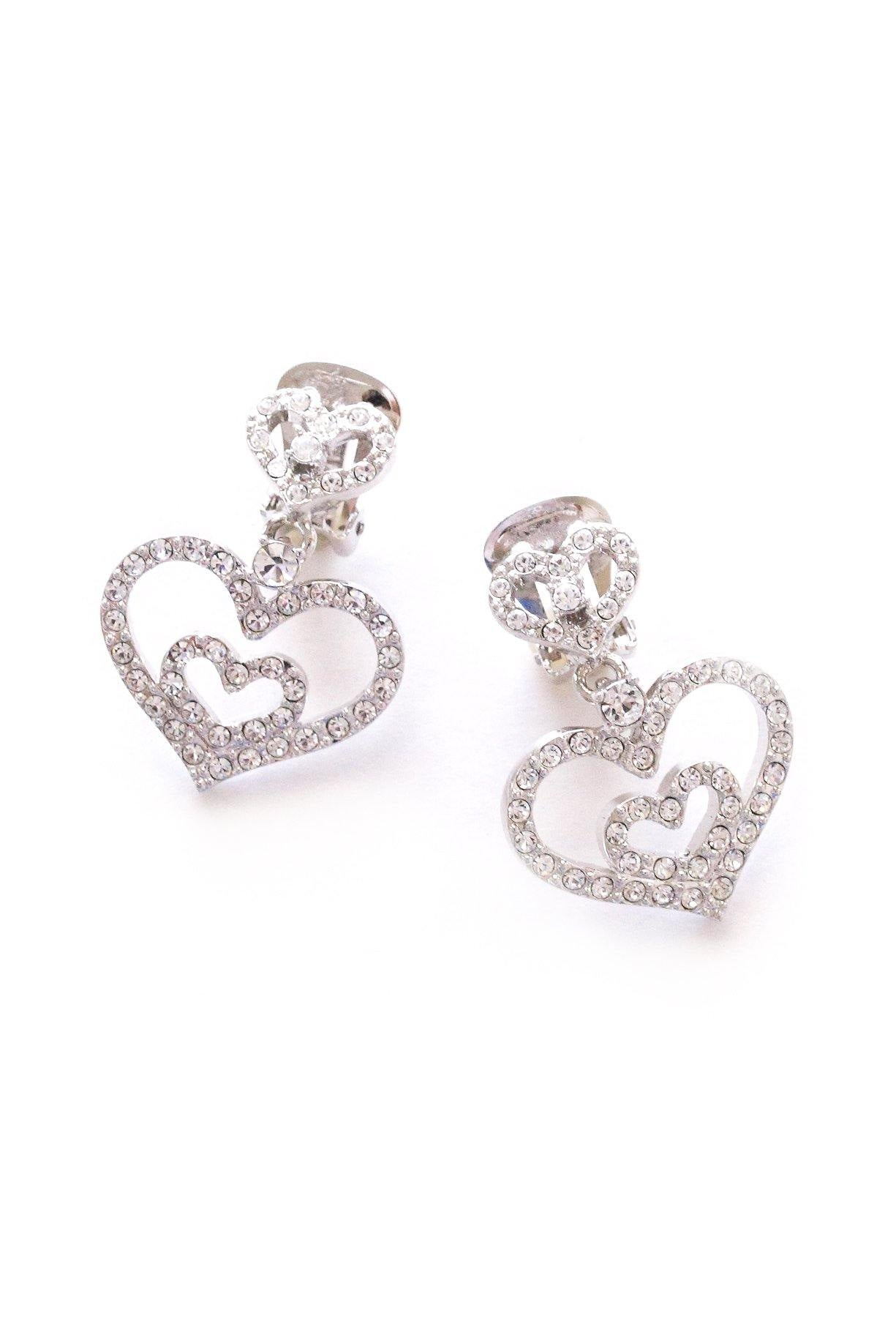 Rhinestone Heart Statement Clip-on Earrings