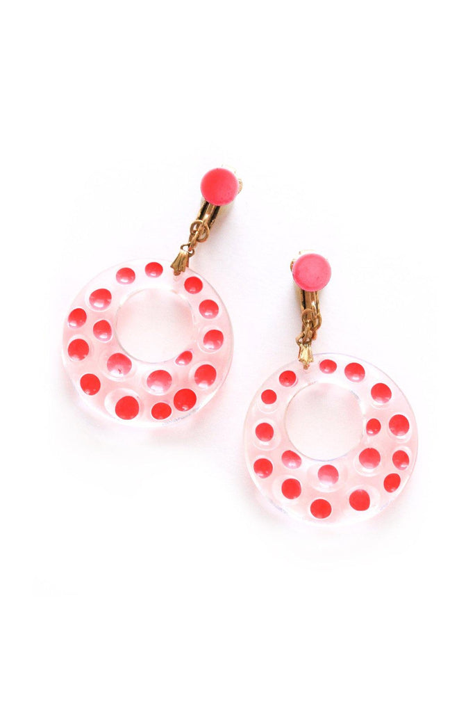 Pink Polka Dot Clip-on Earrings