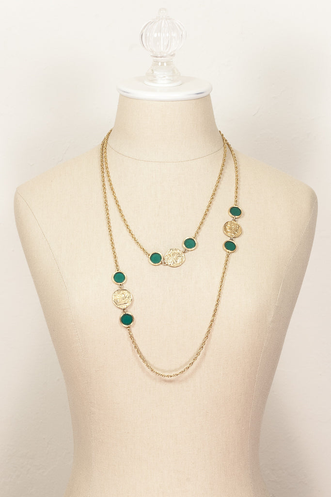 70's__Vintage__Green Coin Wrap Necklace