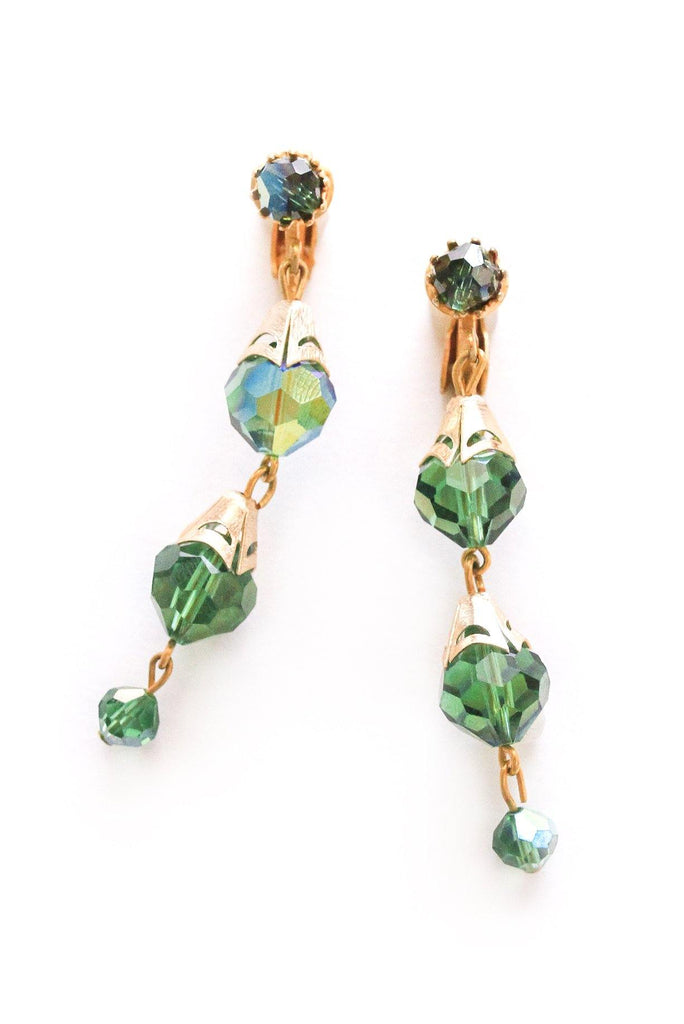 Green Crystal Drop Clip-on Earrings