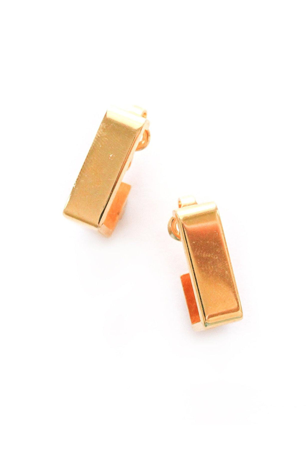Bold Rectangle Hoop Clip-on Earrings
