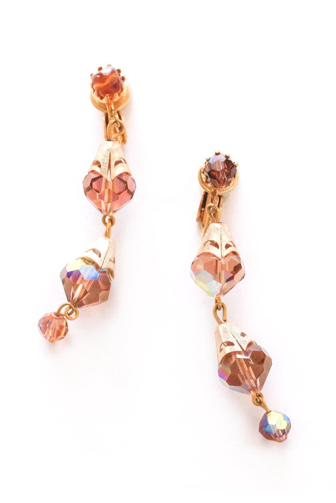 Amber Crystal Drop Clip-on Earrings