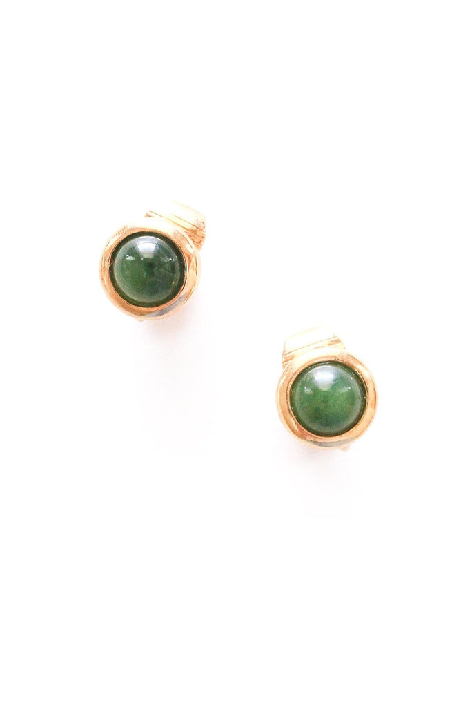 Green Stone Clip-on Earrings