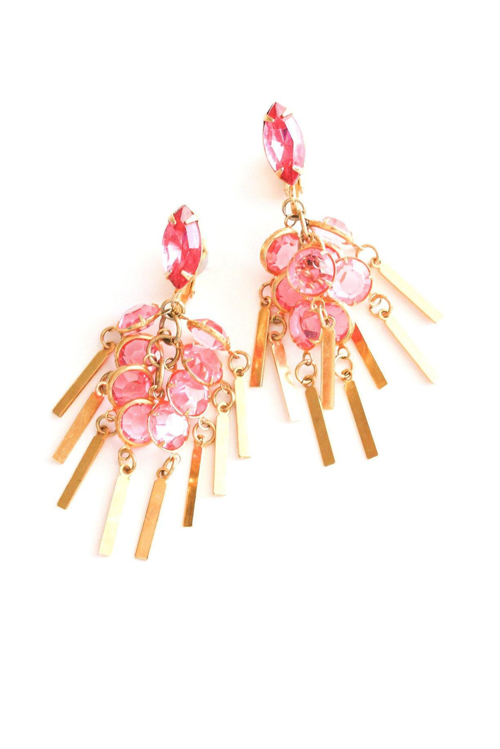 Pink Fringe Clip-on Earrings