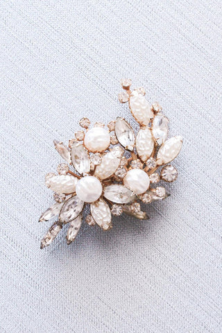 Rhinestone and Pearl Statement Brooch