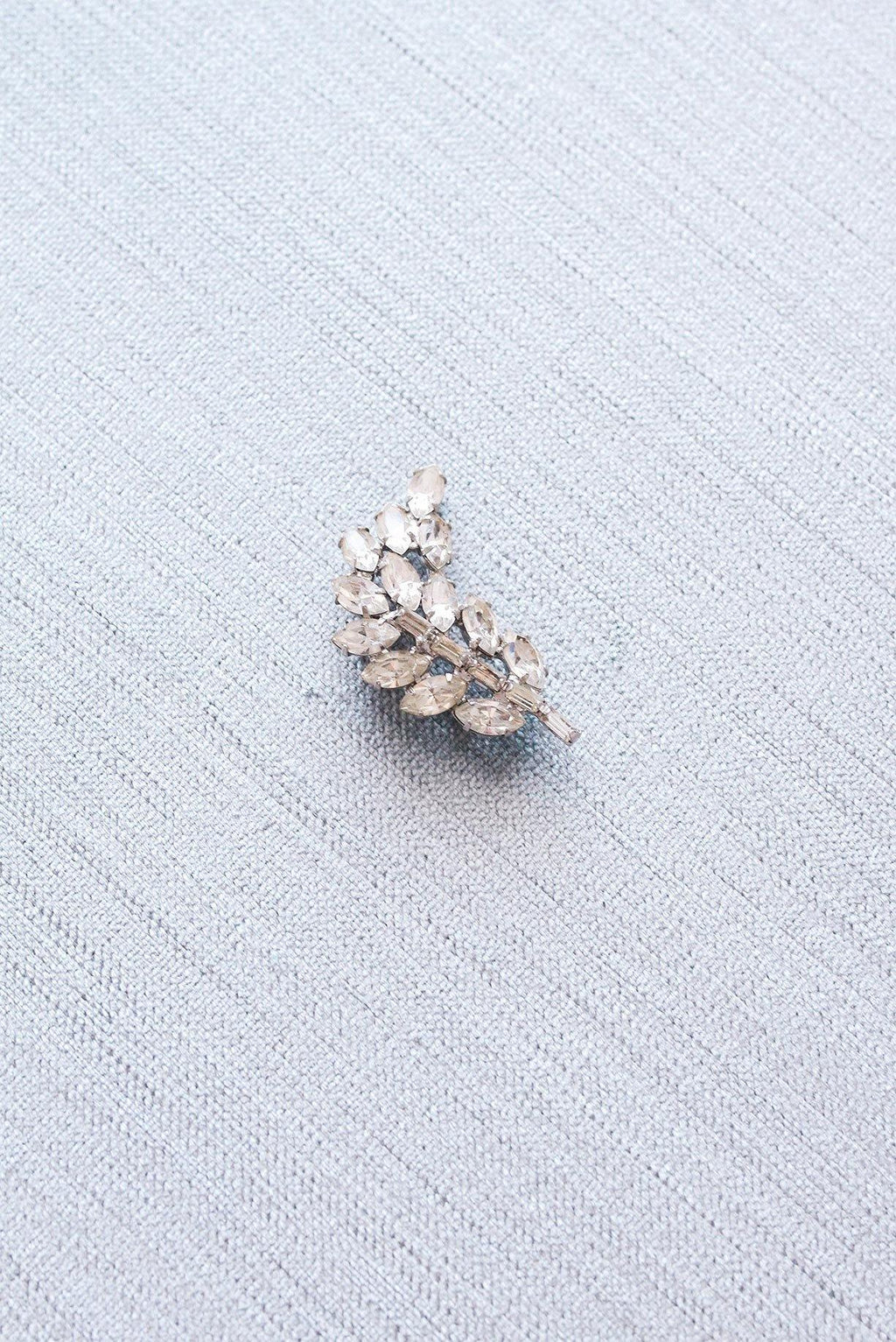 Mini Rhinestone Feather Brooch